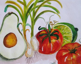 Salsa tomato lime avocado watercolor still life painting Art by Delilah