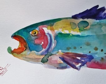 Trout watercolor painting fish Art by Delilah
