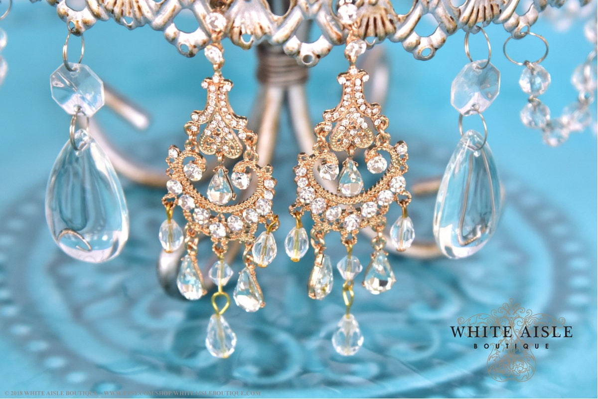 Gold crystal chandelier bridal earrings wedding statement earrings gold crystal chandelier bridal earrings wedding statement earrings vintage style special occasion bohemian jewelry accessories arubaitofo Gallery