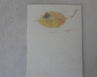 Vintage Original Signed Watercolor of Single Leaf by Ron Wagner