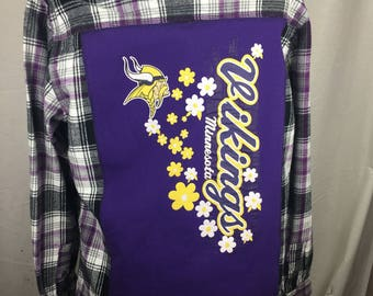 Minnesota  Vikings Recycled UpCycled T Shirt Flannel Shirt