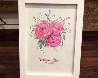 Personalized Baby Girl Shower Gift - Watercolor Flower Print Summer Hot Pink