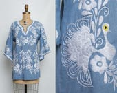 vintage 70s embroidered chambray peacock tunic blouse