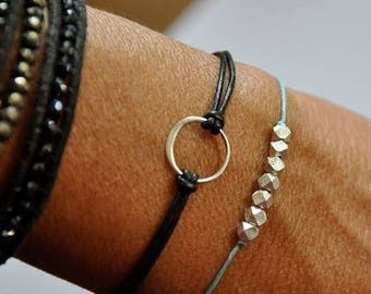 SALE Lucky nugget Wish bracelet.  Pure Fine Silver beads.  Turquoise waxed Irish linen cord