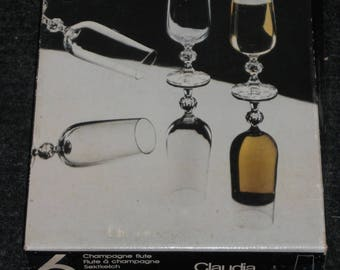 """Bohemian """"Claudia"""" Fluted Champagne Glasses-Lot of 6/Comes in Original Box"""