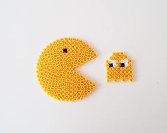 Pac-Man and Ghost Coester , Pixel Art Pac-Man and Ghost Coaster, 80's, Gift for Coffeelovers, Gift for men, Yellow, Trending,  Handmade