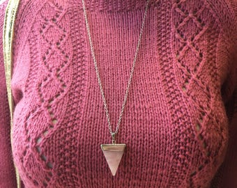 Rose quartz triangle pendant Necklace // handmade in USA // valentines day gift idea // boho mystic crystal geometric