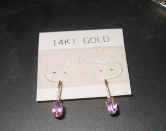 Dress Up Your Ear Diamond Ametrhyst 14k Yellow Gold  Earring