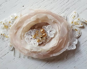 Bridal Hair Comb, Wedding Comb, Ivory Comb, Floral Wedding Comb, Champagne bridal comb, rose gold wedding hair accessories,  chiffon, lace