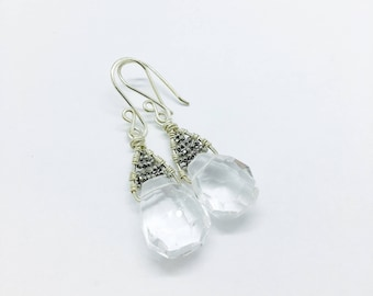 Crystal Wedding Dangle with silver detail