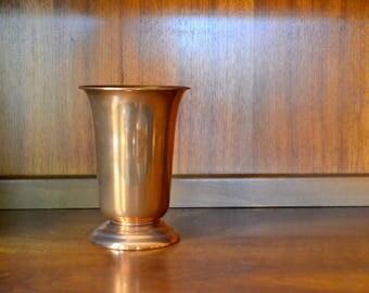 vintage coppercraft guild copper vase / fall autumn decor / copper metal vase