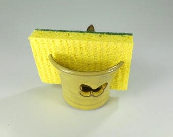 Ceramic sponge holder, pottery sponge keeper, yellow stoneware sponge dish, kitchen sponge holder with butterfly, bathroom sponge holder