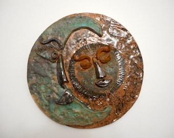 Ceramic sun and moon garden art plaque, pottery moon and sun outdoor decor art, hanging ceramic art, sculpture home decor
