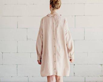 Dusty Pink Linen Dress Long Sleeves