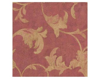 TE29305 Red with Gold Scroll Wallpaper