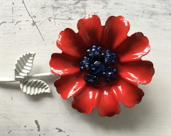 Floral Brooch In Red And Navy / With White Stem / Vintage Jewelry / Jacket Hat Pin
