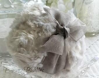 GREY Powder Puff - pewter gray organza - bath pouf - gift box option - by Bonny Bubbles