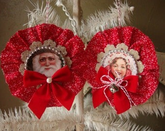 Victorian Christmas ornaments santa and little girl red and white fabric embellished gift tag ornaments package ties Christmas home decor