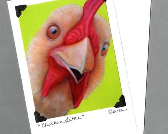 Funny Chicken Card - Silly Chicken -  Proceeds Benefit Animal Charity