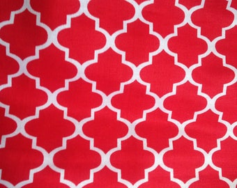 Moroccan Print Red White Fabric Pattern Cotton Quilting Waverly Morocco