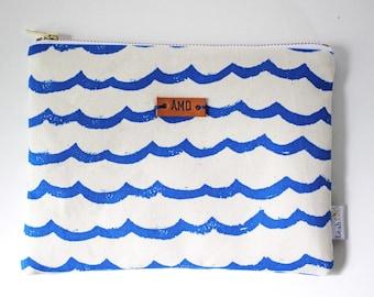 Personalized Clutch, Ocean Waves Makeup Bag, Blue Zipper Pouch, Small Makeup Pouch, Purse Organizer, Monogrammed Bag, Ocean Pouch
