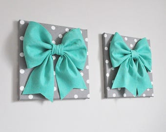 Mixed Media Wall Art, Teal Green Bow Set, Shades of Teal, Wall Art Set, Pool Blue, Home Decor, handmade,Nursery Wall Art, Girls Dorm Collage
