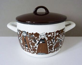 Arabia Finel vintage enamel cooking pot / pan  designed by Kaj Franck & Esteri Tomula