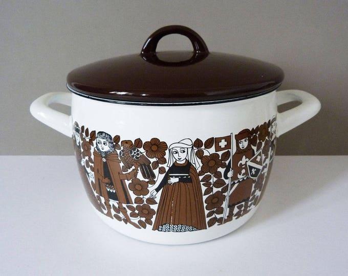 Arabia Finel vintage enamel cooking pot / pan  designed by Kaj Franck & Esteri Tomula
