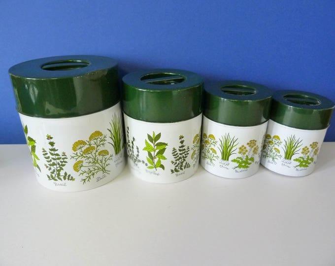 4 nesting metal storage tins vintage 1970's herbs