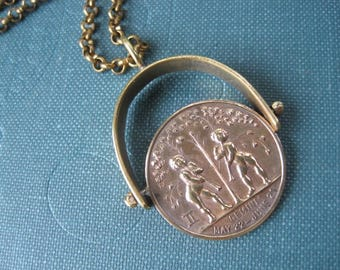 Vintage Gemini 1920's Astrology Zodiac Lucky Token Spinning Pendant. One of a Kind. Ready to Ship.