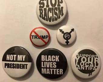 Show up 6 pack - BLM, anti-trump, Antifa support buttons