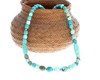 "Summer Sale : ) 18k GOLD CARICO LAKE Turquoise Necklace Barrel Beads  16.5"" New World Gems"