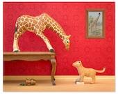 Giraffe and lion cub animal print: Jumpin' Giraffes