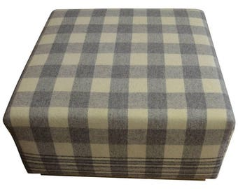 Ottoman Upholstered in Vintage Wool Blanket on Barn Board Wood Base