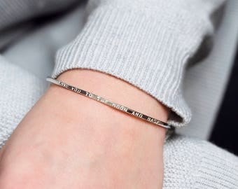 Love you to the moon and back bangle, bangle with words, love bracelet, gift for wife, girlfriend gift - Gracie
