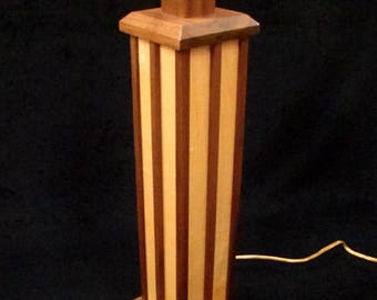 Maple and Black Walnut Mission Style Table Lamp