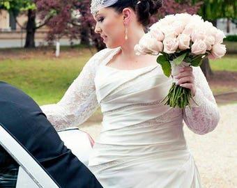 BALANCE for KELSEA: Bridal Cover Up, Wedding Bolero, Bridal Shrug,  with Gathered Cuff