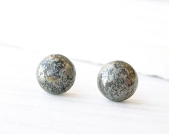 Pyrite Post Earrings - Gold Jewelry, Black, Semipricious Stone Studs, Nickel Free Titanium, Gemstone, Simple