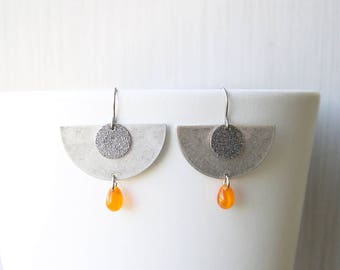 Geometric Dangle Earrings, Titanium Earwires, Contemporary Jewelry, Orange Czech Glass Teardrops, Modern, Silver, Matte, Satin