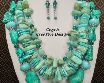 Cowgirl Western Necklace Set - Chunky Howlite Turquoise Necklace - Triple Strand Statement - Western Jewelry - TRIPLE TURQUOISE FUN Again