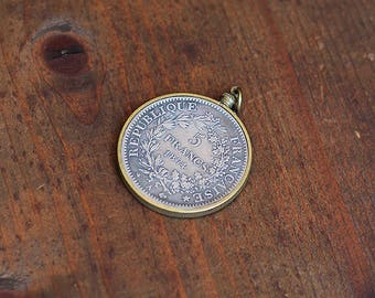 Five Francs Coin Pendant ~ Vintage Brass Setting