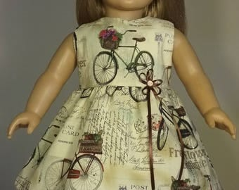 18 inch Doll Clothes Postcard Bicycle Print Dress will fit American Girl Doll Clothes Handmade