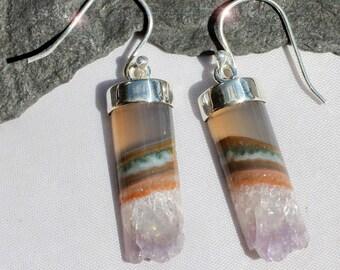 Crystal Cave - Crystal Amethyst Druzy Geode Slice Sterling Silver Earrings