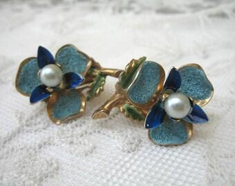Vintage Enamel and Pearl Flower Earrings ~ Blue ~ Clip On