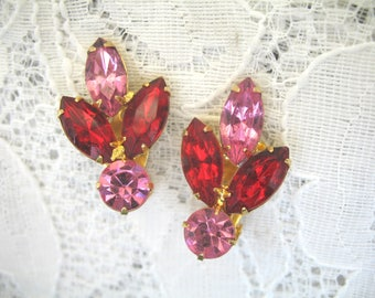 Vintage Rhinestone Earrings ~ Clip On ~ Red & Pink Rhinestone