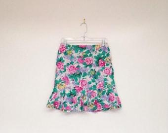 SALE Vintage 1980s Rainbow Rose Print High Waisted Soft Cotton Mini Skirt