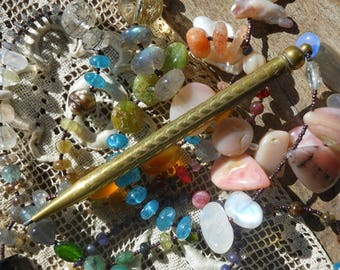 Remains of the Day        Gemstone Mechanical Pencil Pendant Assemblage Necklace