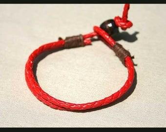 Men's Red Leather Bracelet Adjustable Hemp Cord Braided Leather Wrap