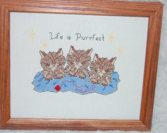 LIFE IS PUURFECT - Completed and Framed Cross Stitch