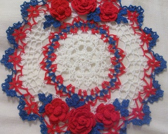 crocheted doily roses  patriotic 4th of July red white and blue Americana